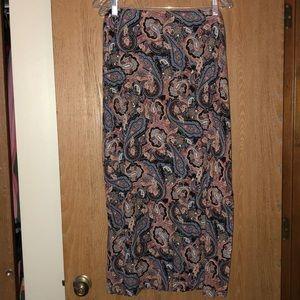 EUC large J.Jill black paisley maxi skirt